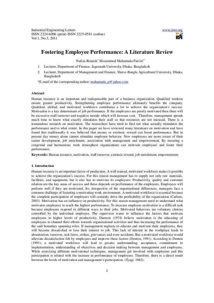 literature review on employee performance