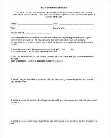 sample self evaluation for performance review